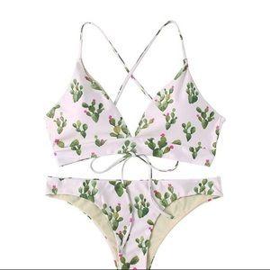 Cactus Print Lace Up Bikini Swim Suit Set